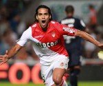 Monaco's Radamel Falcao celebrates after scoring in the 2-0 Ligue 1 victory at Bordeaux